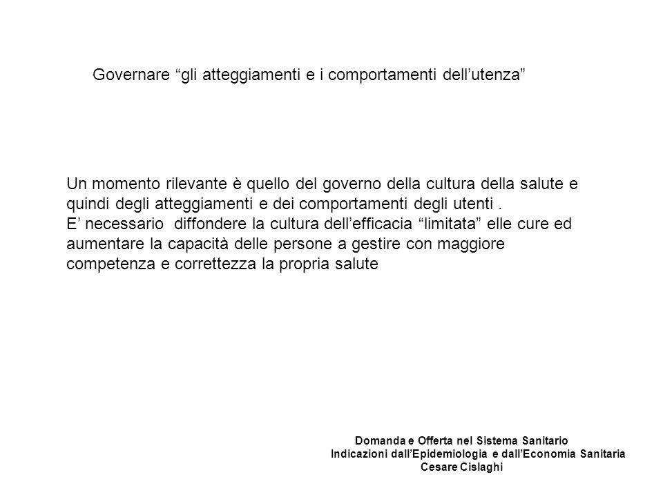 Governare gli atteggiamenti e i comportamenti dell'utenza Un momento rilevante è quello del governo della cultura della salute e quindi degli atteggiamenti e dei comportamenti degli utenti.