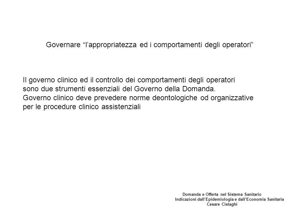 Governare l'appropriatezza ed i comportamenti degli operatori Il governo clinico ed il controllo dei comportamenti degli operatori sono due strumenti essenziali del Governo della Domanda.