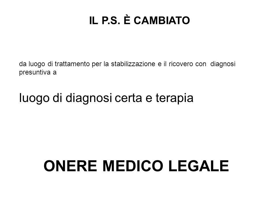 da luogo di trattamento per la stabilizzazione e il ricovero con diagnosi presuntiva a IL P.S.