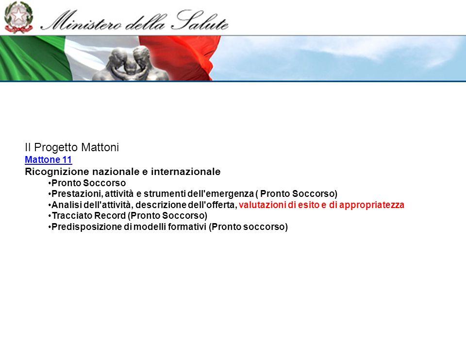 Il Progetto Mattoni Mattone 11 Mattone 11 Ricognizione nazionale e internazionale Pronto Soccorso Prestazioni, attività e strumenti dell'emergenza ( P