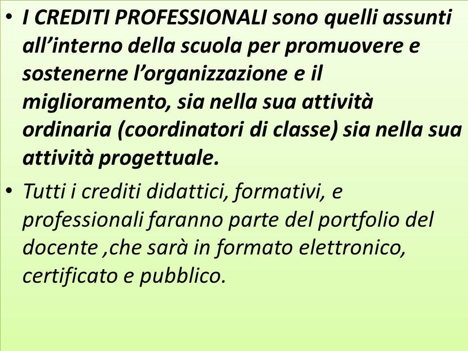 I CREDITI PROFESSIONALI sono quelli assunti all'interno della scuola per promuovere e sostenerne l'organizzazione e il miglioramento, sia nella sua at