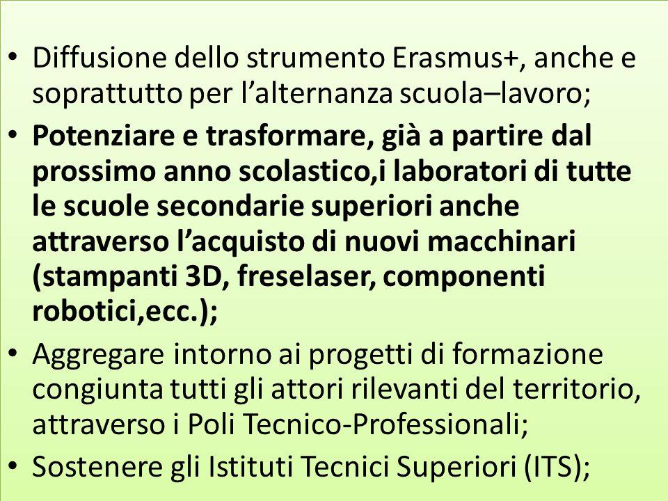 Diffusione dello strumento Erasmus+, anche e soprattutto per l'alternanza scuola–lavoro; Potenziare e trasformare, già a partire dal prossimo anno sco