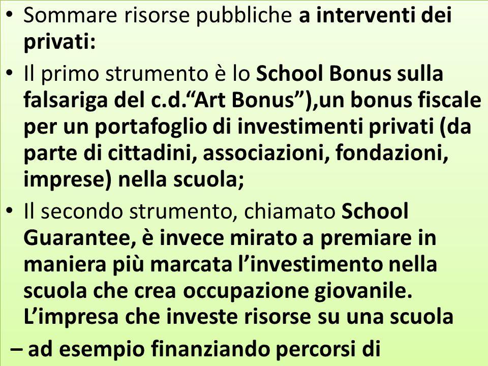 """Sommare risorse pubbliche a interventi dei privati: Il primo strumento è lo School Bonus sulla falsariga del c.d.""""Art Bonus""""),un bonus fiscale per un"""
