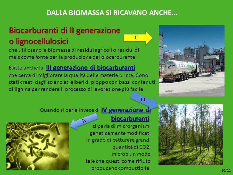 DALLA BIOMASSA SI RICAVANO ANCHE… che utilizzano la biomassa di residui agricoli o residui di mais come fonte per la produzione del biocarburante. Bio