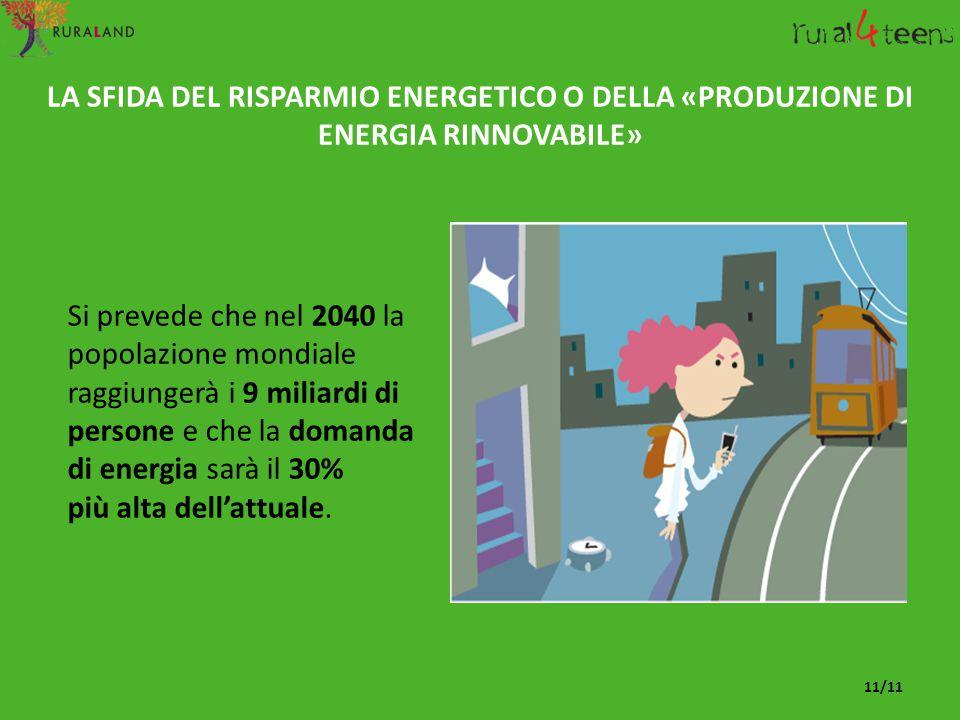 Si prevede che nel 2040 la popolazione mondiale raggiungerà i 9 miliardi di persone e che la domanda di energia sarà il 30% più alta dell'attuale. LA