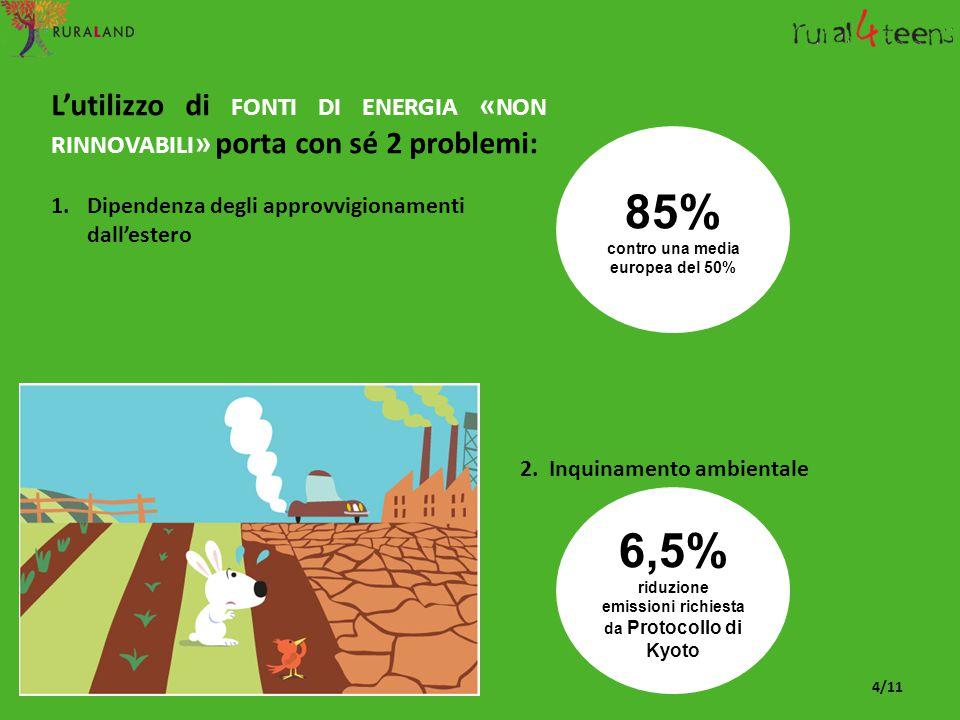 L'utilizzo di FONTI DI ENERGIA « NON RINNOVABILI » porta con sé 2 problemi: 1.Dipendenza degli approvvigionamenti dall'estero 2. Inquinamento ambienta