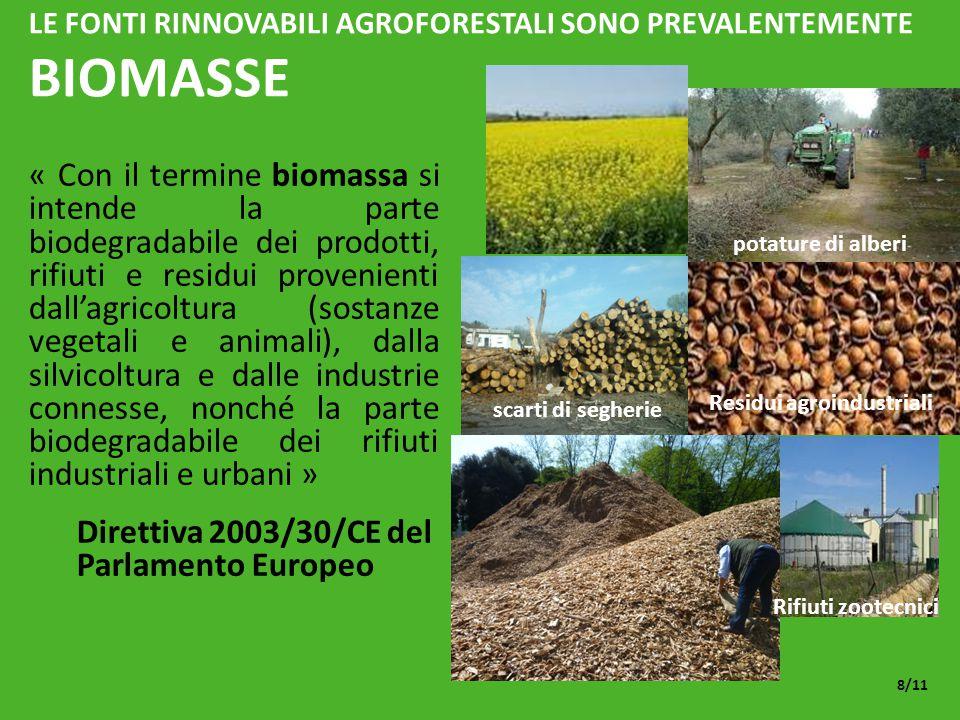 LE FONTI RINNOVABILI AGROFORESTALI SONO PREVALENTEMENTE BIOMASSE « Con il termine biomassa si intende la parte biodegradabile dei prodotti, rifiuti e residui provenienti dall'agricoltura (sostanze vegetali e animali), dalla silvicoltura e dalle industrie connesse, nonché la parte biodegradabile dei rifiuti industriali e urbani » Direttiva 2003/30/CE del Parlamento Europeo 8/11 potature di alberi scarti di segherie Rifiuti zootecnici Residui agroindustriali