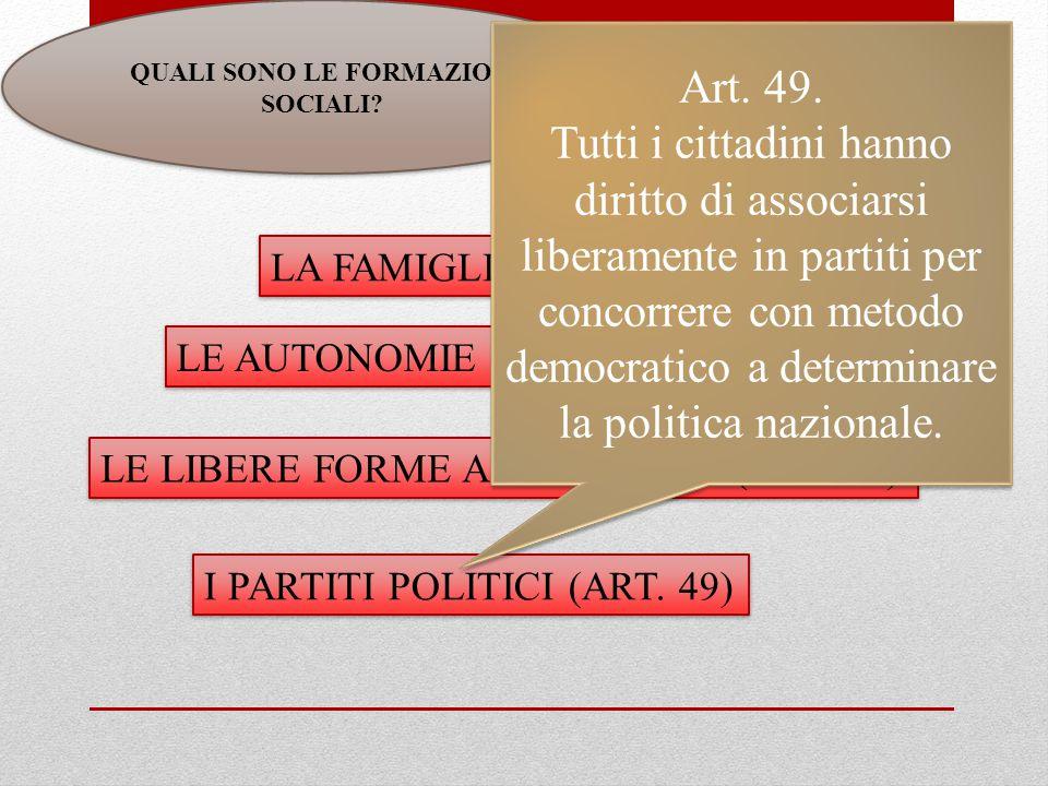 QUALI SONO LE FORMAZIONI SOCIALI. LE LIBERE FORME ASSOCIATIVE (ART.