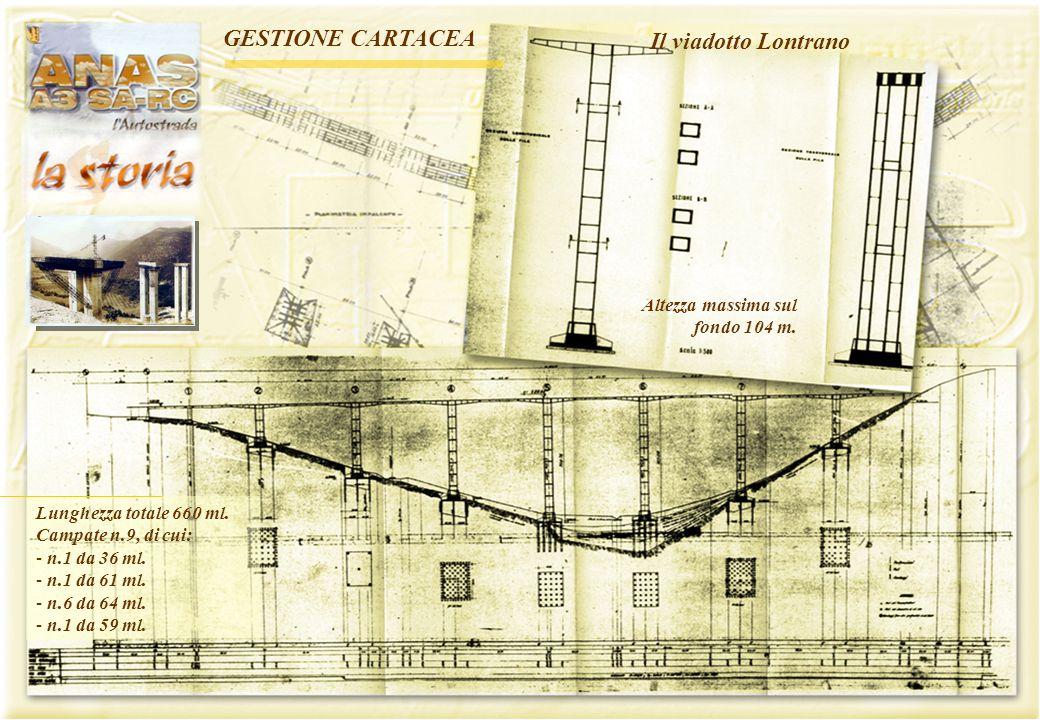 - 13 - Il viadotto Lontrano Lunghezza totale 660 ml. Campate n.9, di cui: - n.1 da 36 ml. - n.1 da 61 ml. - n.6 da 64 ml. - n.1 da 59 ml. Altezza mass