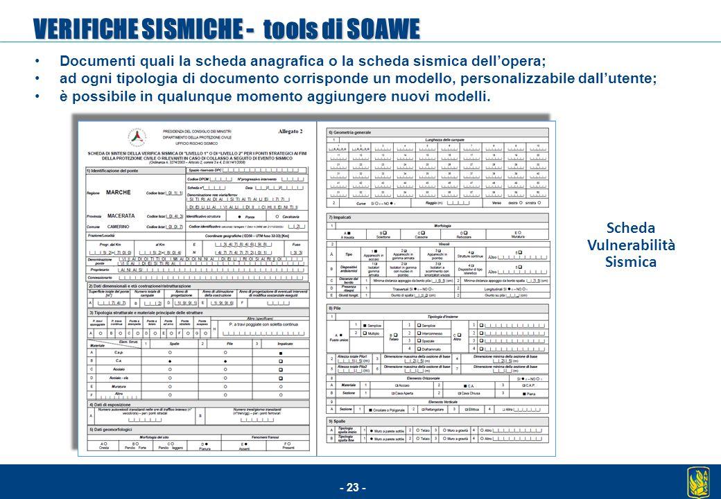 - 23 - Documenti quali la scheda anagrafica o la scheda sismica dell'opera; ad ogni tipologia di documento corrisponde un modello, personalizzabile da