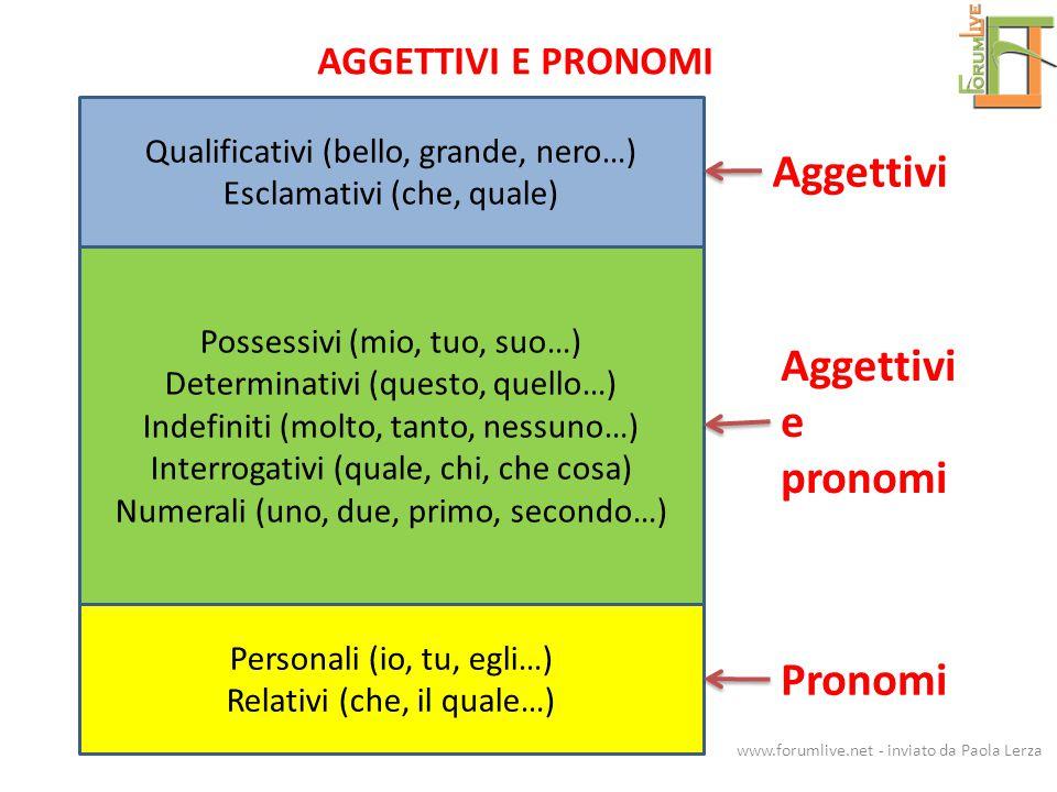 Qualificativi (bello, grande, nero…) Esclamativi (che, quale) Possessivi (mio, tuo, suo…) Determinativi (questo, quello…) Indefiniti (molto, tanto, ne