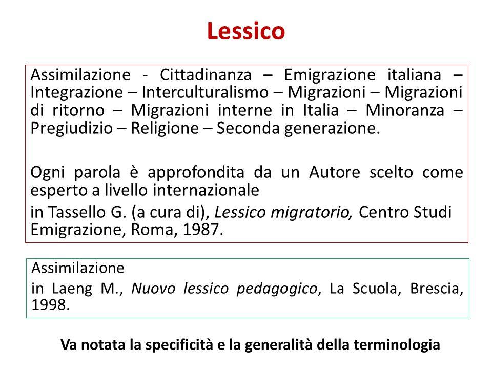 Lessico Assimilazione - Cittadinanza – Emigrazione italiana – Integrazione – Interculturalismo – Migrazioni – Migrazioni di ritorno – Migrazioni inter