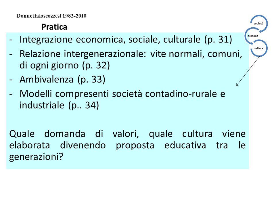 Donne italoscozzesi 1983-2010 -Integrazione economica, sociale, culturale (p. 31) -Relazione intergenerazionale: vite normali, comuni, di ogni giorno