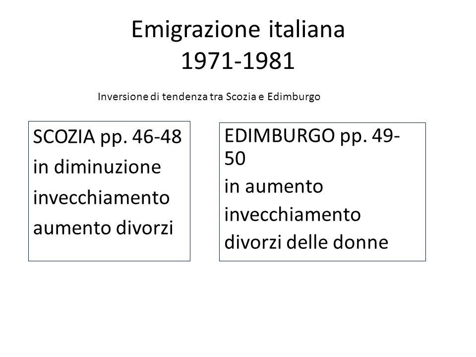 Emigrazione italiana 1971-1981 SCOZIA pp. 46-48 in diminuzione invecchiamento aumento divorzi EDIMBURGO pp. 49- 50 in aumento invecchiamento divorzi d