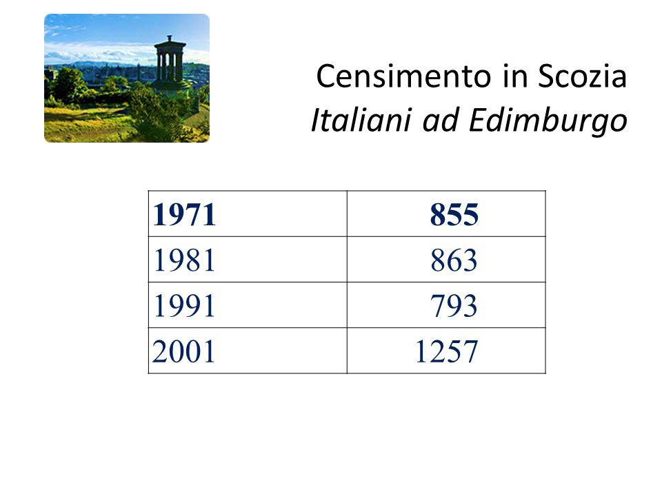 Censimento in Scozia Italiani ad Edimburgo 1971 855 1981 863 1991 793 20011257