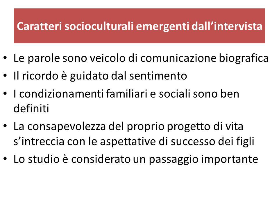 Caratteri socioculturali emergenti dall'intervista Le parole sono veicolo di comunicazione biografica Il ricordo è guidato dal sentimento I condiziona
