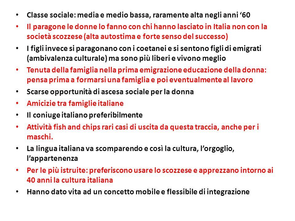 Classe sociale: media e medio bassa, raramente alta negli anni '60 Il paragone le donne lo fanno con chi hanno lasciato in Italia non con la società s