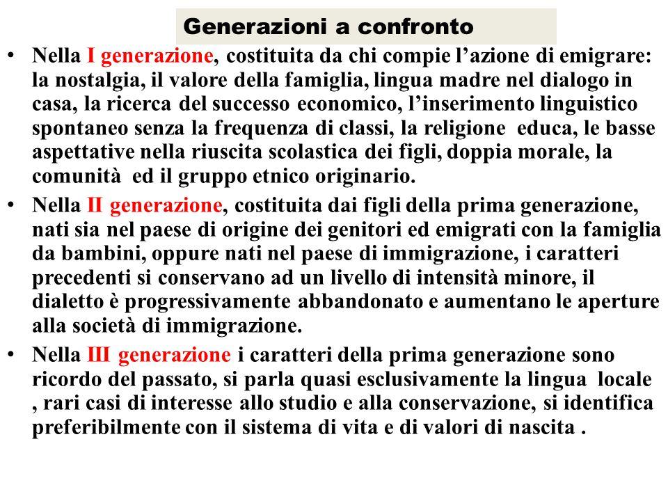 Generazioni a confronto Nella I generazione, costituita da chi compie l'azione di emigrare: la nostalgia, il valore della famiglia, lingua madre nel d