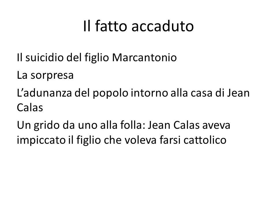 Il fatto accaduto Il suicidio del figlio Marcantonio La sorpresa L'adunanza del popolo intorno alla casa di Jean Calas Un grido da uno alla folla: Jea