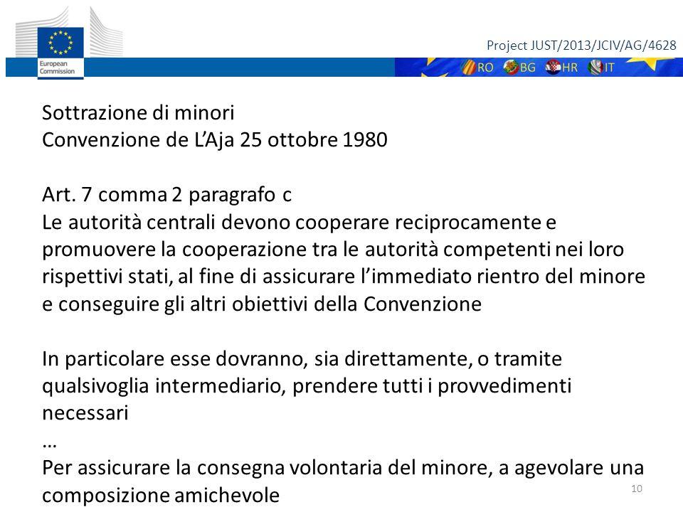 Project JUST/2013/JCIV/AG/4628 10 Sottrazione di minori Convenzione de L'Aja 25 ottobre 1980 Art.