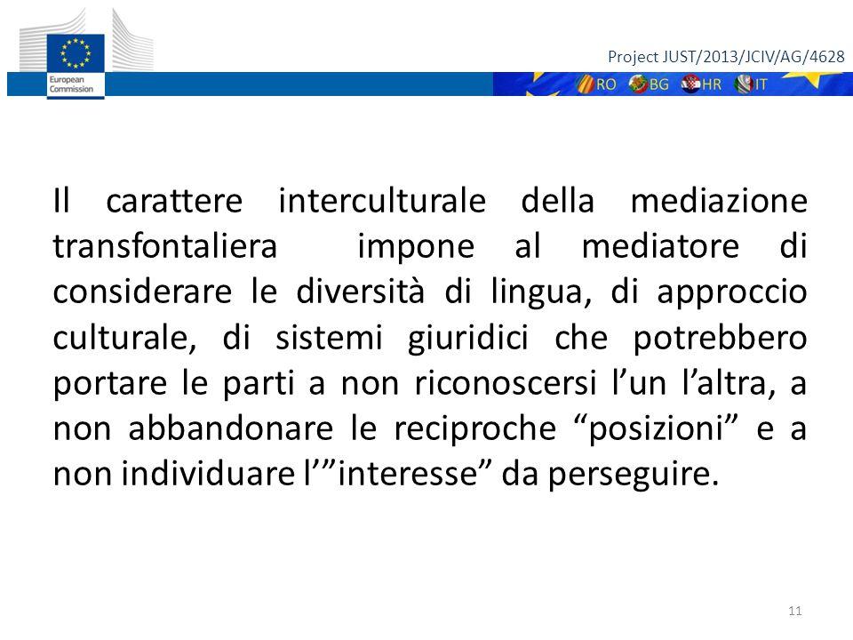 Project JUST/2013/JCIV/AG/4628 11 Il carattere interculturale della mediazione transfontaliera impone al mediatore di considerare le diversità di lingua, di approccio culturale, di sistemi giuridici che potrebbero portare le parti a non riconoscersi l'un l'altra, a non abbandonare le reciproche posizioni e a non individuare l' interesse da perseguire.
