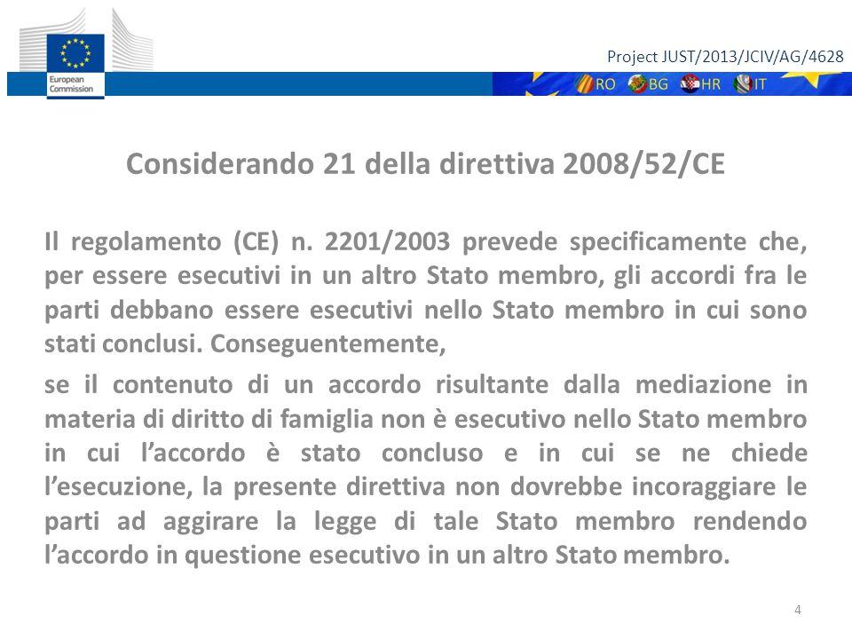 Project JUST/2013/JCIV/AG/4628 Considerando 21 della direttiva 2008/52/CE Il regolamento (CE) n.