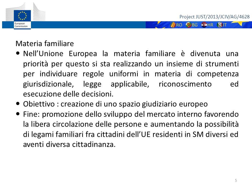 Project JUST/2013/JCIV/AG/4628 5 Materia familiare Nell'Unione Europea la materia familiare è divenuta una priorità per questo si sta realizzando un insieme di strumenti per individuare regole uniformi in materia di competenza giurisdizionale, legge applicabile, riconoscimento ed esecuzione delle decisioni.