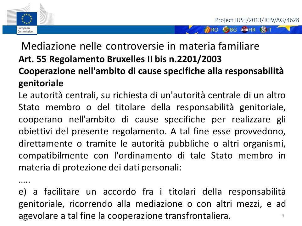Project JUST/2013/JCIV/AG/4628 9 Mediazione nelle controversie in materia familiare Art.