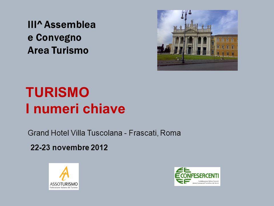 TURISMO I numeri chiave Grand Hotel Villa Tuscolana - Frascati, Roma 22-23 novembre 2012 III^ Assemblea e Convegno Area Turismo