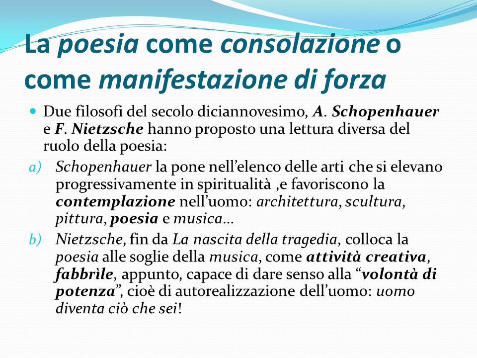 La poesia come consolazione o come manifestazione di forza Due filosofi del secolo diciannovesimo, A. Schopenhauer e F. Nietzsche hanno proposto una l