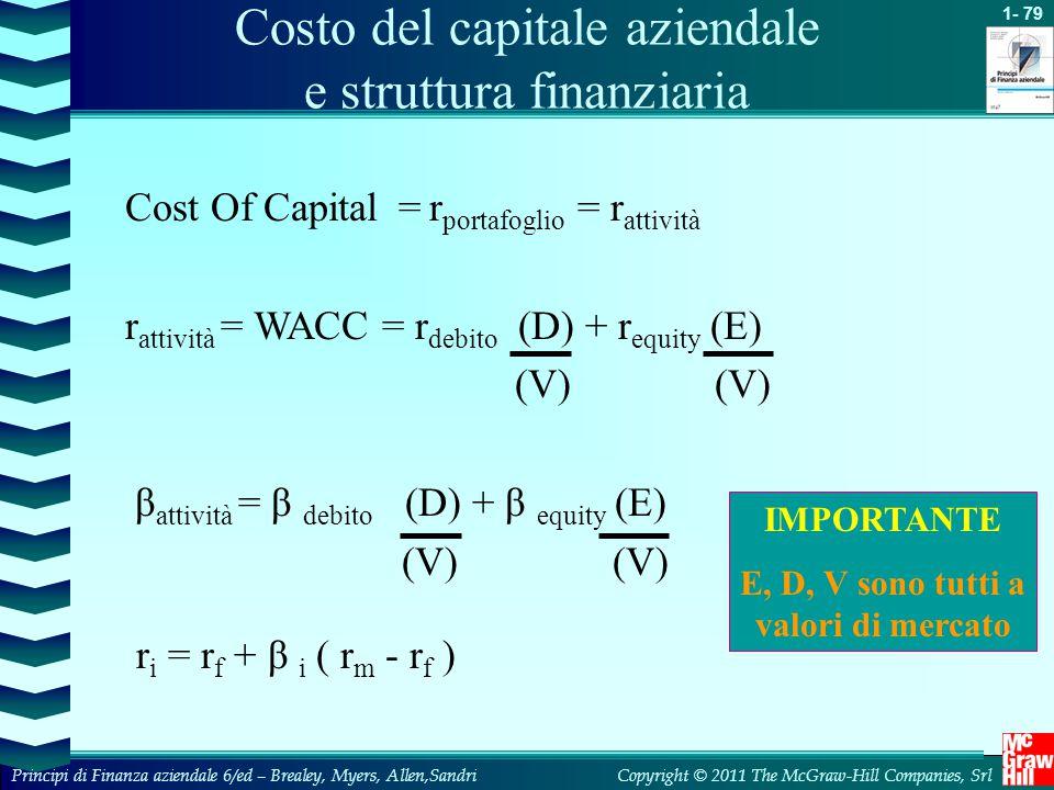 1- 79 Copyright © 2011 The McGraw-Hill Companies, SrlPrincipi di Finanza aziendale 6/ed – Brealey, Myers, Allen,Sandri Costo del capitale aziendale e struttura finanziaria Cost Of Capital = r portafoglio = r attività r attività = WACC = r debito (D) + r equity (E) (V) (V) β attività = β debito (D) + β equity (E) (V) (V) r i = r f + β i ( r m - r f ) IMPORTANTE E, D, V sono tutti a valori di mercato