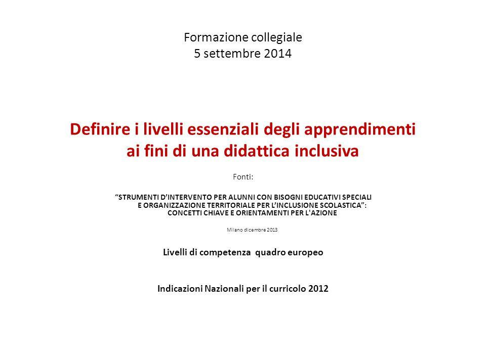 Formazione collegiale 5 settembre 2014 Definire i livelli essenziali degli apprendimenti ai fini di una didattica inclusiva Fonti: STRUMENTI D'INTERVENTO PER ALUNNI CON BISOGNI EDUCATIVI SPECIALI E ORGANIZZAZIONE TERRITORIALE PER L'INCLUSIONE SCOLASTICA : CONCETTI CHIAVE E ORIENTAMENTI PER L AZIONE Milano dicembre 2013 Livelli di competenza quadro europeo Indicazioni Nazionali per il curricolo 2012