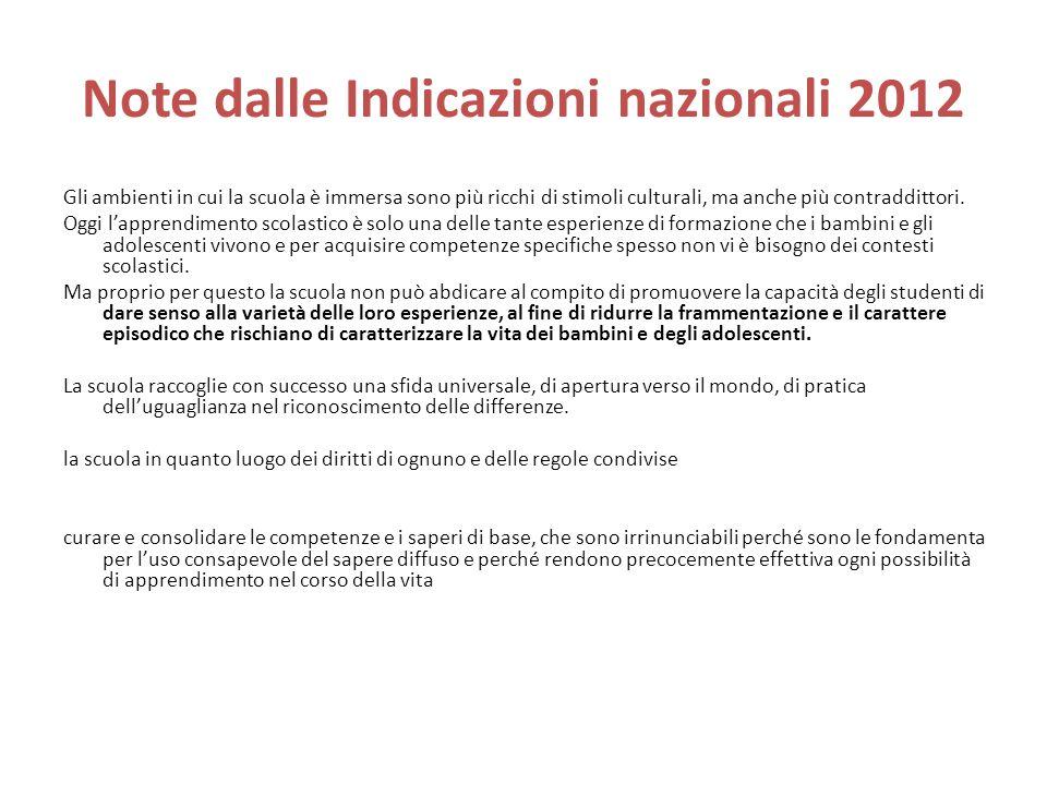 Note dalle Indicazioni nazionali 2012 Gli ambienti in cui la scuola è immersa sono più ricchi di stimoli culturali, ma anche più contraddittori.