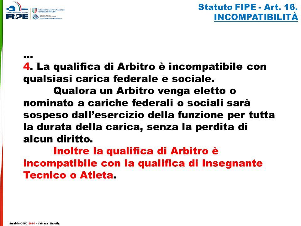 Archivio CNUG 2014 – Fabiano Blasutig Statuto FIPE - Art. 16. INCOMPATIBILITÀ … 4. La qualifica di Arbitro è incompatibile con qualsiasi carica federa