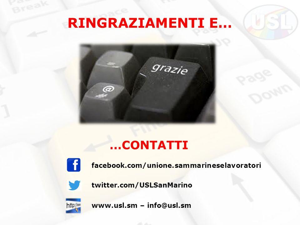 RINGRAZIAMENTI E… …CONTATTI facebook.com/unione.sammarineselavoratori twitter.com/USLSanMarino www.usl.sm – info@usl.sm