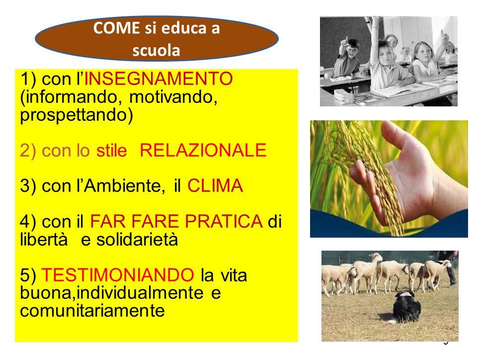 5 1) con l'INSEGNAMENTO (informando, motivando, prospettando) 2) con lo stile RELAZIONALE 3) con l'Ambiente, il CLIMA 4) con il FAR FARE PRATICA di libertà e solidarietà 5) TESTIMONIANDO la vita buona,individualmente e comunitariamente COME si educa a scuola