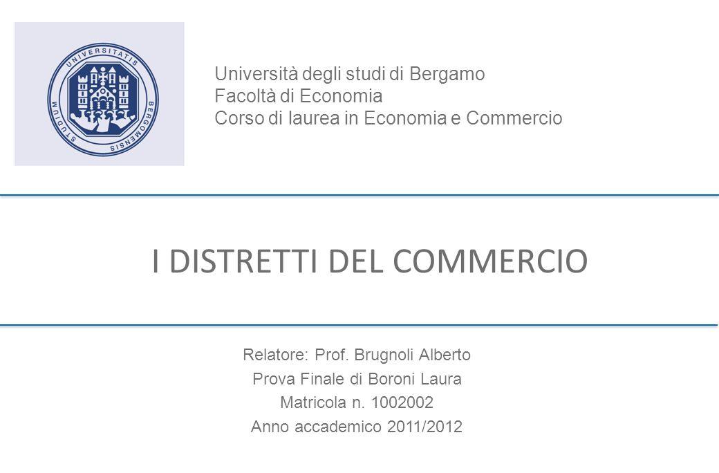 I DISTRETTI DEL COMMERCIO Relatore: Prof.