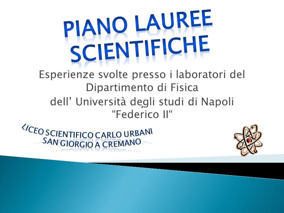 """Esperienze svolte presso i laboratori del Dipartimento di Fisica dell' Università degli studi di Napoli """"Federico II"""""""