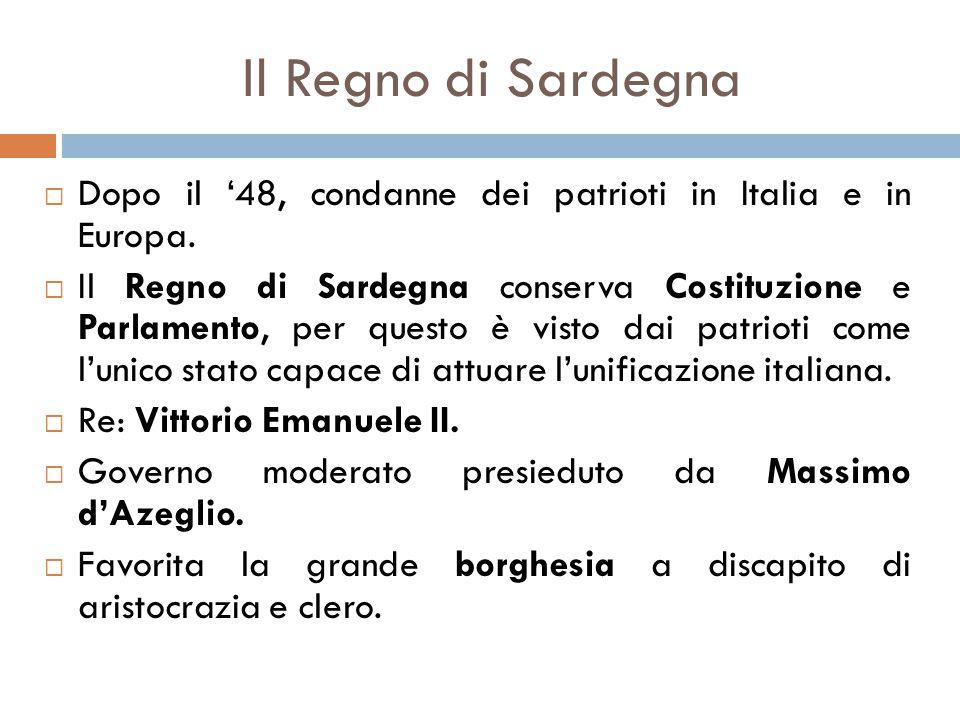 Il Regno di Sardegna  Dopo il '48, condanne dei patrioti in Italia e in Europa.  Il Regno di Sardegna conserva Costituzione e Parlamento, per questo