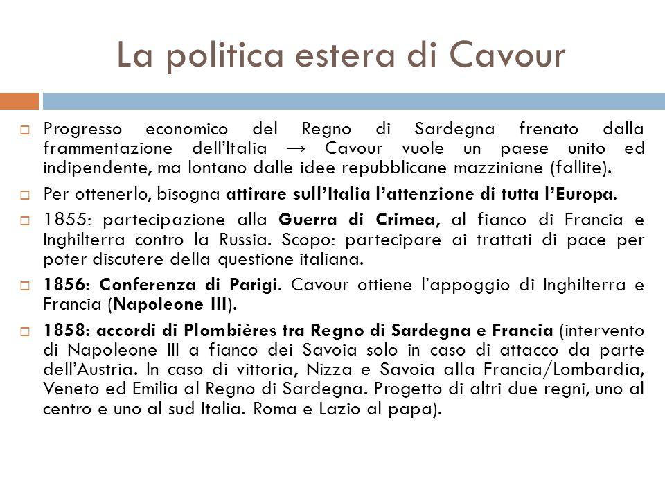 La politica estera di Cavour  Progresso economico del Regno di Sardegna frenato dalla frammentazione dell'Italia → Cavour vuole un paese unito ed ind