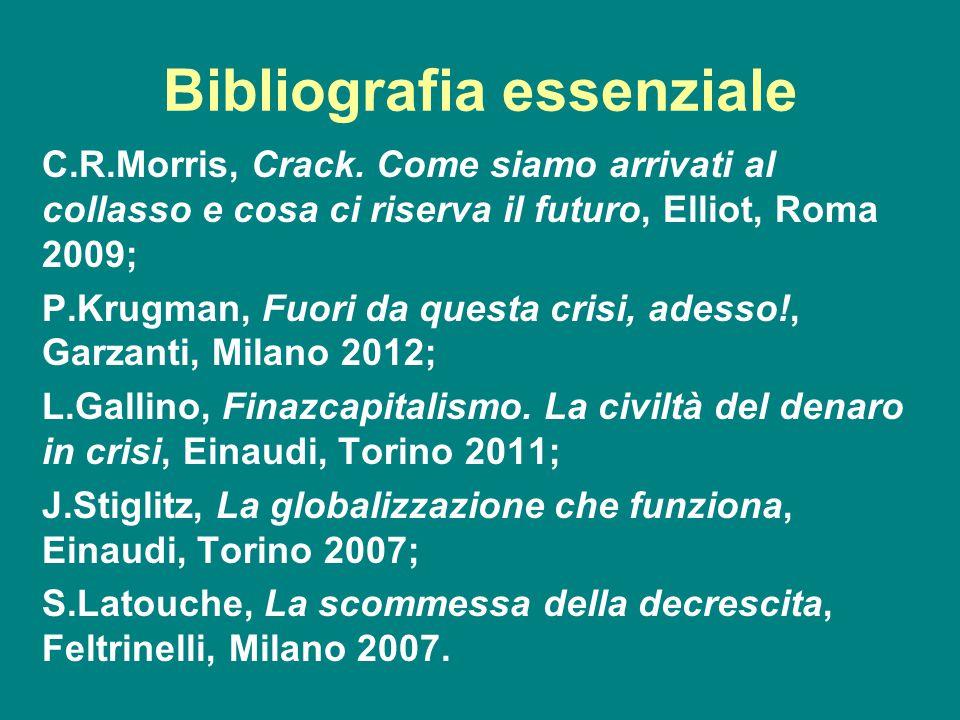 Bibliografia essenziale C.R.Morris, Crack. Come siamo arrivati al collasso e cosa ci riserva il futuro, Elliot, Roma 2009; P.Krugman, Fuori da questa