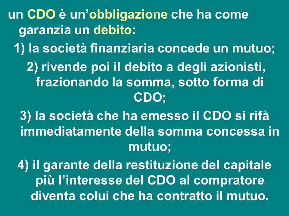 un CDO è un'obbligazione che ha come garanzia un debito: 1) la società finanziaria concede un mutuo; 2) rivende poi il debito a degli azionisti, frazi