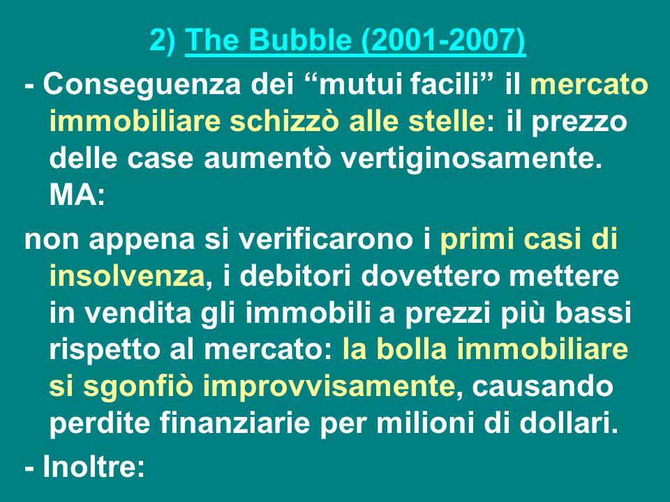 """2) The Bubble (2001-2007) - Conseguenza dei """"mutui facili"""" il mercato immobiliare schizzò alle stelle: il prezzo delle case aumentò vertiginosamente."""
