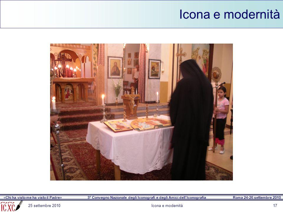 «Chi ha visto me ha visto il Padre» 3° Convegno Nazionale degli Iconografi e degli Amici dell'Iconografia Roma 24-26 settembre 2010 Icona e modernità