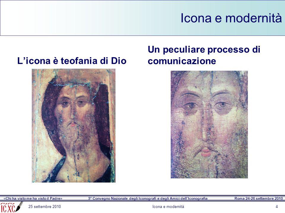 «Chi ha visto me ha visto il Padre» 3° Convegno Nazionale degli Iconografi e degli Amici dell'Iconografia Roma 24-26 settembre 2010 Icona e modernità 25 settembre 2010Icona e modernità15