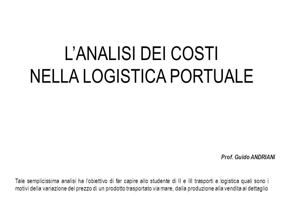 L'ANALISI DEI COSTI NELLA LOGISTICA PORTUALE Prof. Guido ANDRIANI Tale semplicissima analisi ha l'obiettivo di far capire allo studente di II e III tr