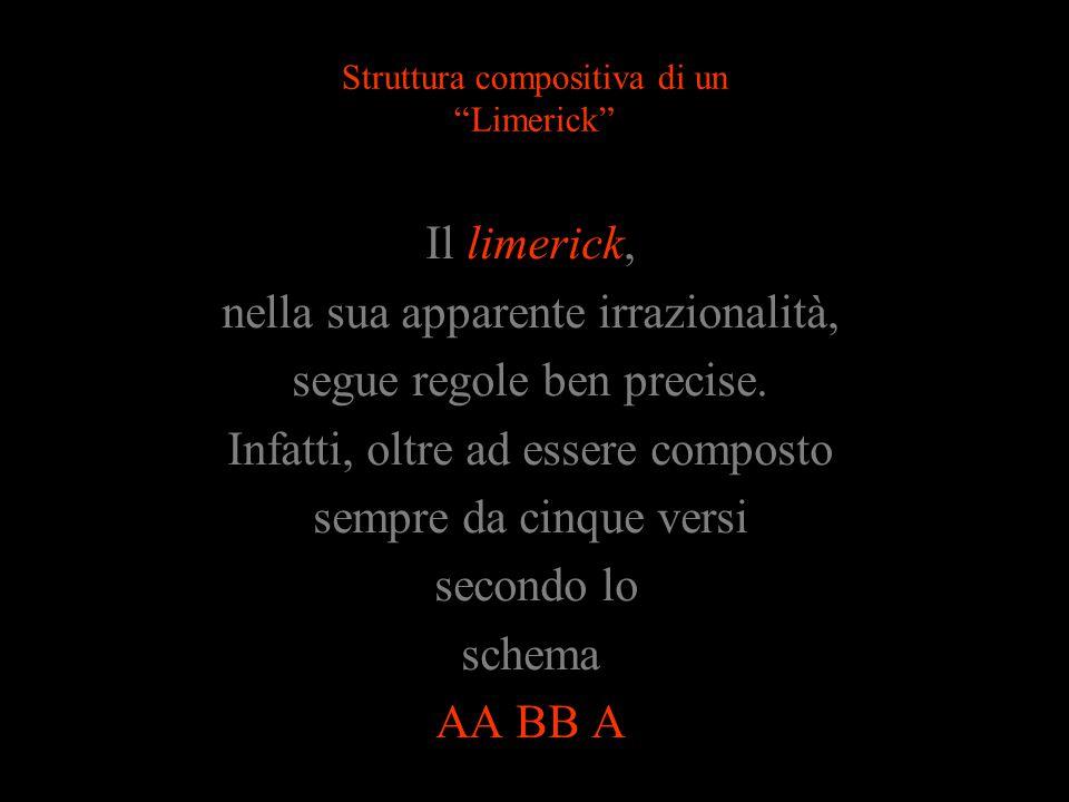Struttura compositiva di un Limerick Il limerick, nella sua apparente irrazionalità, segue regole ben precise.