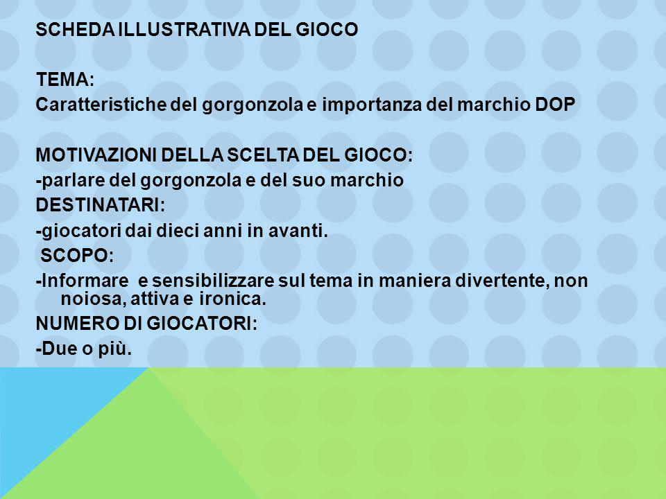 SCHEDA ILLUSTRATIVA DEL GIOCO TEMA: Caratteristiche del gorgonzola e importanza del marchio DOP MOTIVAZIONI DELLA SCELTA DEL GIOCO: -parlare del gorgo