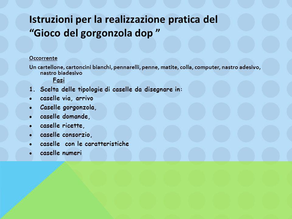 """Istruzioni per la realizzazione pratica del """"Gioco del gorgonzola dop """" Occorrente Un cartellone, cartoncini bianchi, pennarelli, penne, matite, colla"""