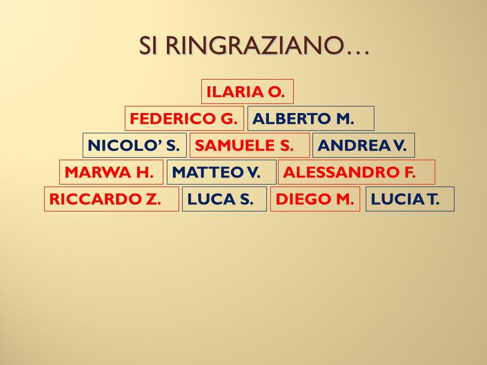 SI RINGRAZIANO… LUCIA T. ILARIA O. SAMUELE S. DIEGO M. ALESSANDRO F. RICCARDO Z. NICOLO' S. ALBERTO M. ANDREA V. FEDERICO G. LUCA S. MATTEO V.MARWA H.
